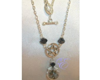 Miniature Witch Ball / Pentacle  Necklace - Hematite Crystal Beads