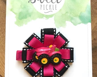 Pink Tractor Hair Clip- Pink Hair Bow- Farm, Country, Baby, Toddler Hair Bow, Back to School, Summer, Fall, Girls Hair Accessories