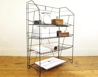 industrial shelf, mid century modern shelf,vintage wire rack,metal shelving,craft show display,kitchen rack,office storage,shoe rack