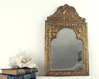 vintage mirror,brass mirror, wall mirror,antique mirror,french mirror, art deco mirror,arched mirror,wood mirror, circa 1930