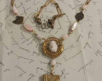 ANGEL SKIN CORAL  antique cameo vintage assemblage necklace with locket