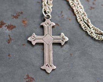 Mid Century Cross Necklace - Sterling Silver Pendant on Rope Chain