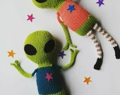 Alien brother or sister, choose Nix or Callisto, hand knit soft toy friend - 100% cotton original plush space pal