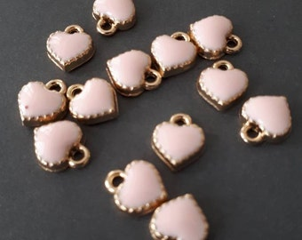 10pcs-small heart charm, soft Pink enamel heart Charm-more colors