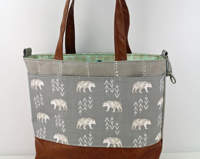 Extra Large Lulu Tote -Bear Cubs READY to SHIP Exterior Pockets  Zipper Closure 10 pockets