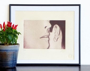 Original Engraving Print WHISPERING Poetic Erotic Mezzotint Printmaking Art Home Wall Decor Fine Art Print 12x10
