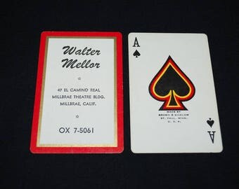 Vintage Walter Mellor Playing Cards - Millbrae Theater Building - California 1950's - Complete Deck of 52 Cards and 2 Jokers in Original Box