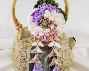 Swirl Kiku Chrysanthemum Tsumami Kanzashi Purple, Pearl, Pink Print with Leaves and Shidare Hair Pin