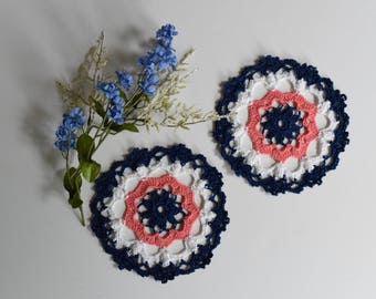 """Small Crochet Doily Pair - Navy Blue and Peach - Lacy Small Mini 6"""" - Set of 2"""