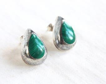 Malachite Teardrop Earrings Vintage Mexican Sterling Silver Green Stone Tear Drop Posts Studs Modernist Jewelry