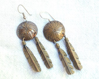 Feather Dangle Earrings Vintage Mexican Brass Drop Feathers Domes Southwestern Style Boho Dangles