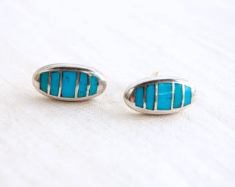 Striped Turquoise Earrings Vintage Southwest Oval Posts Studs Sterling Silver Blue Stone Pods