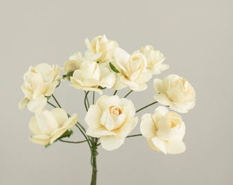 12 Paper Roses / One Bouquet /  0.75 inches 20 mm / Ivory Cream / 3/4 Inches / Artificial Flowers / Bridal / Wedding Favors / Millinery