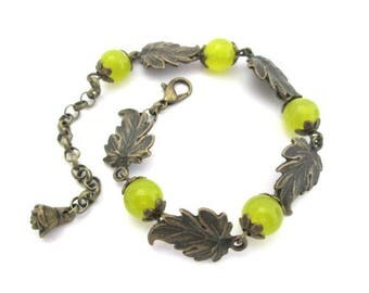 Green stone with leaves bracelet jewelry antique bronze brass vintage style beaded bracelet