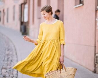 Mustard Linen Dress, Apron Dress, Midi Dress, Yellow Bridesmaid Dress, Smock Long Sleeves Dress, Linen Dress, Knee Length Dress
