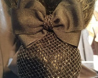 Black Equestrian Grosgrain Hair Bow with Silvery Glitter Net Snood