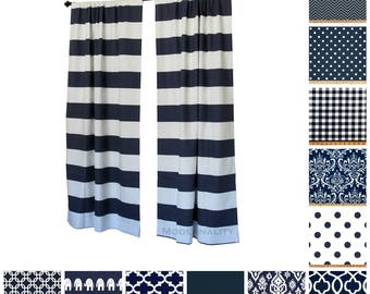 Navy Blue Curtains- Pair of Drapery Panels- Nautical Drapes- Grommets & Lined Curtains Available- Custom Curtains- Navy Cafe Curtains