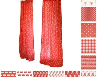 Window Curtains- Pair of Drapery Panels- Coral Curtains- Floral Drapes- Add Grommets and Blackout Lining- Nursery Curtains- Custom Curtain