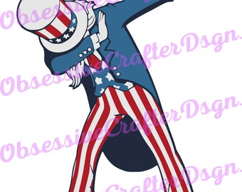 Uncle Sam dabbin SVG, DXF