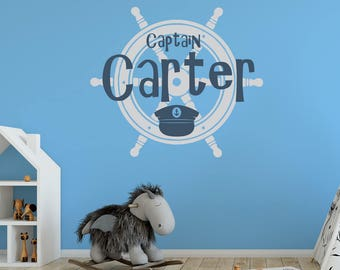 Pirate Decal - Pirate Wall Decal - Captain Wheel Decal - Ship Wheel - Captain Jack - Kids Room Decal - Wall Decals Nursery - 1041