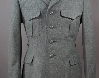 Swiss Army jacket olive green melton wool military