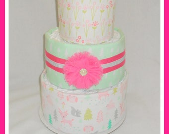 Diaper Cake- Baby Girl Woodland Themed-Baby Shower Centerpiece
