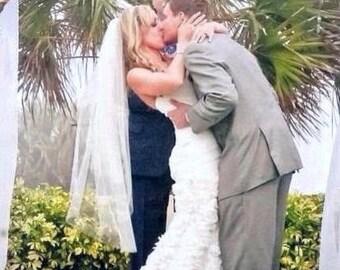 Ivory blusher fingertip veil fingertip wedding veil