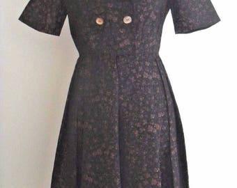 Floral Black and Brown Short Sleeve 1950s Dress UK 8 US 4