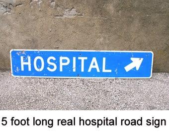 Hospital Sign Blue white arrow Road Sign LARP supply doctor retirement party graduation nursing gift medical decor stage prop long sign