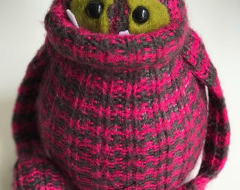 Smug Monster one of a kind plush sculpt doll made from sweaters-plush sweater monster
