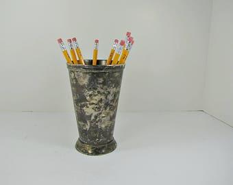 Vintage TARNISHED SILVERPLATE VASE Flower Bouquet Patina Floral WEDDiNG Pencil Holder Desk Organizer