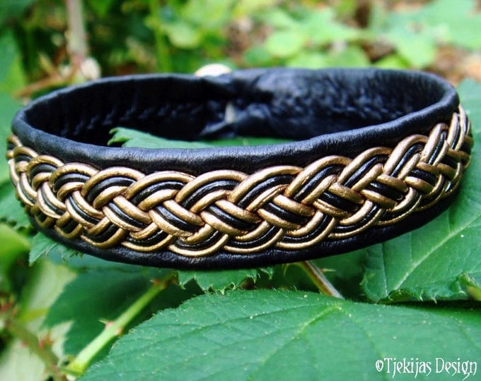 Sami Bracelet in Black and Bronze Leather FREKI Nordic Viking Bracelet Cuff Bangle Custom Handmade in Your Colors and Size
