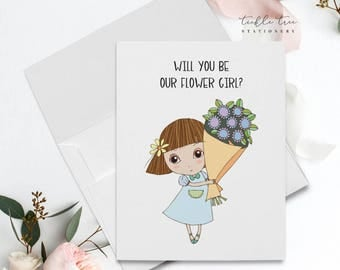 Folded Note Card - Will You Be Our Flower Girl?