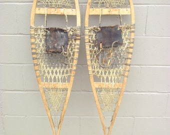 """Antique Snowshoes 51"""" x 12"""" - Leather Boot Bindings - Rustic Lodge Cabin Adirondack Wall Decor - Alaskan Athabascan Beavertail Algonquin"""
