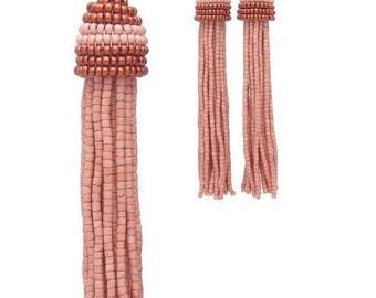 ON SALE CLAY color beaded tassel Earrings with Clip ons or Silver studs in Oscar de la Renta style / Choose your lenght: 3, 4 or 5 inches