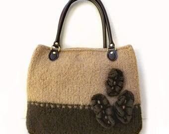 Knit Bag Pattern, Felted Purse Pattern, Knitting Pattern, Instant Download, PDF, Cafe au Lait - Knitting patterns by Deborah O'Leary