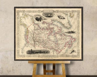 Old map of Canada - Vintage map reproduction - Giclee fine print