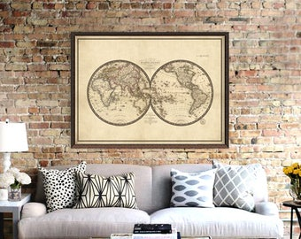 Antique world map print - Old map of the world - Reproduction map fine art - Mappemonde