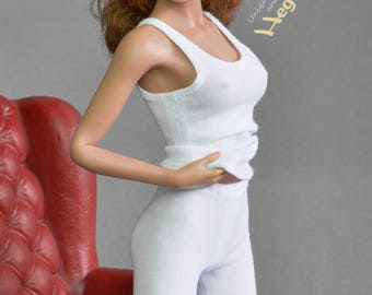 1/6th scale white tank top for female action figure doll such as Pichen