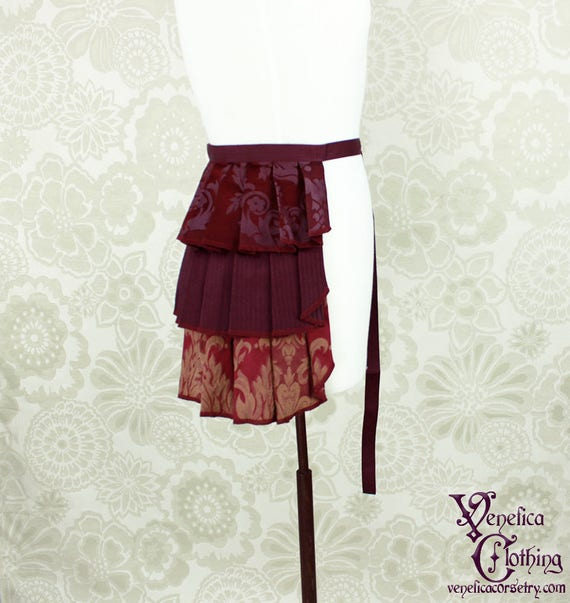 "Steampunk Ruffle Bustle Overskirt - Aubergine, Burgundy, & Gold - 3 Layer, Sz. S - Fits up to 40"" Waist/Upper Hip -- Ready to Ship"