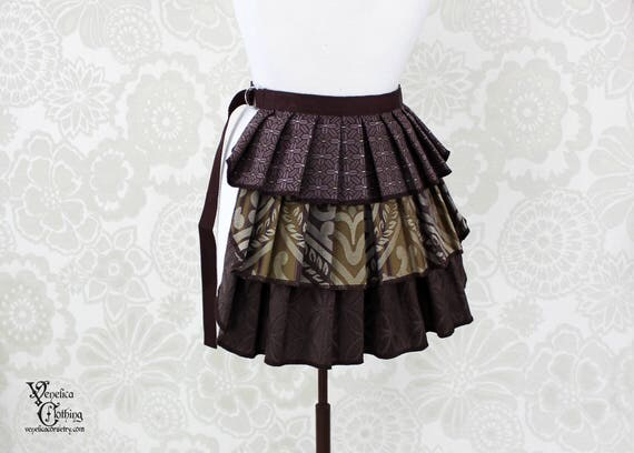 "Steampunk Ruffle Bustle Overskirt - 3 Layer, Sz. XS - Lilac, Olive, & Brown - Best Fits up to 34"" Waist/Upper Hip -- Ready to Ship"