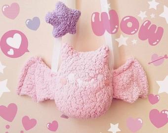 Pink Bat Plush Purse - Kawaii Purse, Cute Plush Purse
