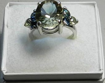 Oregon Sunstone and Montana sapphires , sterling silver ring    #313