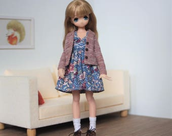 Blue floral dress withs cardigan and socks for Ruruko and Azone xs