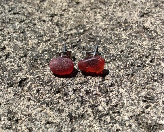 Surf Tumbled Ruby Red Seaglass Stud Earrings