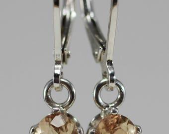 Oregon Sunstone Pink Schiller Oval Earrings in Sterling Silver Dangle settings 1.45 tcw #1558
