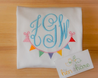 Pennant Bunting Banner Monogram Frame colors Summer Birthday gift present girl girly monogrammed embroidered personalized custom made