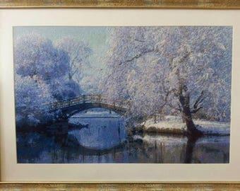 Winter landscape, cross stitch art