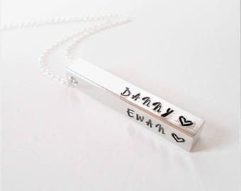 custom necklace, hand stamped aluminum bar necklace, personalised necklace, message necklace, family necklace, gift for her, gift for him