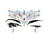 Stick on face jewels & gems, all in one, body bindi stickers, festival rhinestones, adhesive makeup, glitter, rave gift, festivals gear